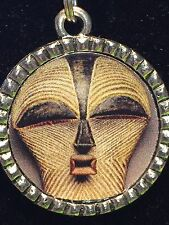 """Tribal Indian African Mask Kiss Charm Tibetan Silver with 18"""" Necklace AM11"""