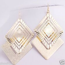 gorgeous 9k Yellow Gold Filled Elegant Ear Stud dangle hoop Earrings e509