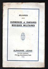 """PARIS (I°) HARMONIES & FANFARES de MUSIQUE MILITAIRE """"Alphonse LEDUC"""" Catalogue"""