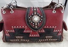 Jessie James Western Faux Leather Purse Red Brown Black Aztec Detai Rhinestone