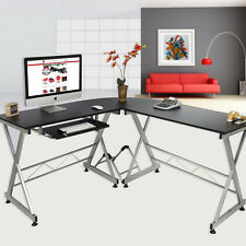 L-Shaped Computer Desk Corner Home Office Student Furniture Black Wood Laptop PC