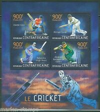 CENTRAL AFRICA  2013 CRICKET HCOOK CLARKE DHONI & VILLIERS  SHEET MINT NH
