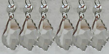 6 GLASS CHANDELIER CRYSTALS LEAF DROPLETS BEADS CHRISTMAS TREE DECORATIONS DROPS