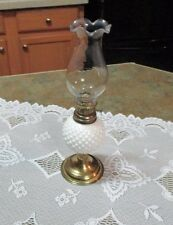 Vintage Oil Lamp Hobnail Milk Glass Small White Made in Hong Kong