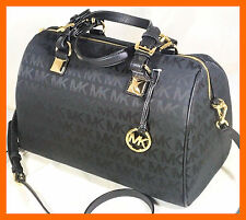 New Michael Kors Black Black MK Signature LARGE  Satchel Grayson Tote Crossbody