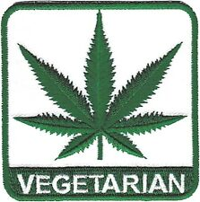 VEGETARIAN hemp leaf EMBROIDERED IRON-ON PATCH Free Ship legalize marijuana weed