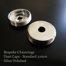Standard 22mm Polished DUST CAPS Set for modern cranks: Campy, Shimano etc.