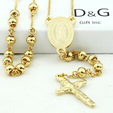 """DG 25"""" Stainless Steel-Gold Beaded Rosary VIRGIN MARY,JESUS CROSS Necklace + BOX"""