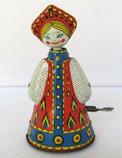 VINTAGE WORKING MECHANICAL CHILD WIND UP TIN TOY DANCING RUSSIAN DOLL