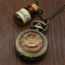 Antique Unique Drink Me Unisex Wishing Bottle Pendent Pocket Watch Long Necklace