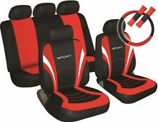 COSMOS Car Seat, Steering Wheel & Seatbelt Cover Sport - Set - Black/Red