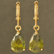 fashion 9K Solid Gold Filled Olives Green CZ Womens Waterdrop Dangle Earrings