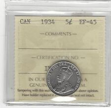 **1934**, ICCS Graded Canadian, Five Cent, **EF-45**