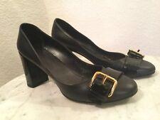 Louis Vuitton Uniformes Black Leather Gold Buckle Front High Heel Shoes US Sz 7M