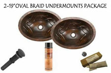 PAIR OF COPPER OVAL FLAT RIM BRAID BATH SINKS PACKAGE