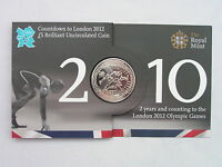 """2010 2nd """"Athletics"""" Countdown £5 BU Coin Pack 2012 Olympic Royal Mint Brand New"""