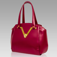 Valentino Orlandi Designer Raspberry Nappa Leather Gilded Purse Large Handbag