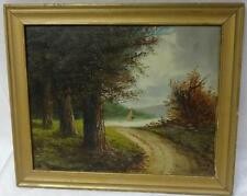 Antique Oil on Canvas Landscape Painting Signed Gaugle