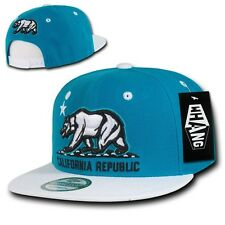 California Republic Bear Teal Blue & White Flat Bill Snapback Snap Back Cap Hat