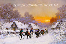 Horse Racing in the Snow Pack of 10 Christmas Cards by Roy Miller C327X