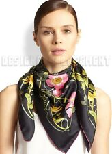 "GUCCI black FLOWER WEB country roses & insects silk 35"" Scarf NWT Authentic $440"