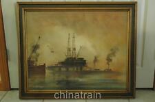 Original 30x24 Jose Campuzano Oil Drilling Platform Rig Oil Painting Framed 1970