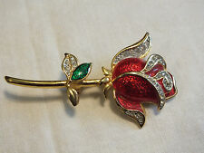 Beautiful Brooch Pin Gold Tone Rose Red Green Enamel Clear Rhinestones Signed