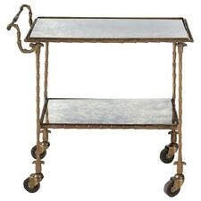 "31"" L Iron cart on casters antiqued brass finish 2 mirror shelf unique design"