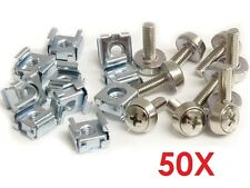 50X Durable M6 Rack Mount Cage Nuts & Screws w/Washers Square Clips Server