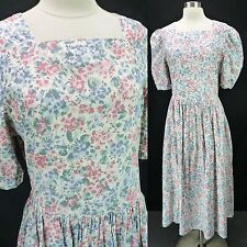 Laura Ashley Vintage 90s Pastel Floral Print Day Dress Puff Sleeves Modest 12/M
