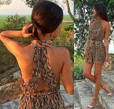 Mini Vestido Zara Woman Serpiente Animal Print Halter Neck que fluye Talla M UK 10