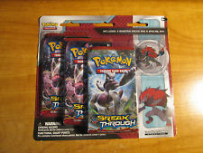 Pokemon XY BREAKTHROUGH Card Booster BLISTER 3-Pack With Complete ZOROARK Pin