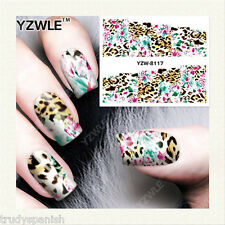 Nail Art Water Decals Wraps Neon Pink Blue Leopard Print Spots Gel Polish (8117)