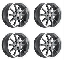 Set 4 20x8.5 Vision 143 Torque 5x115mm 10mm Charcoal Machined Wheels Inch 20""