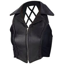 Gilet Top Vest Donna Woman Lady Biker Collo Scollatura Moto Custom Zip Tg. L
