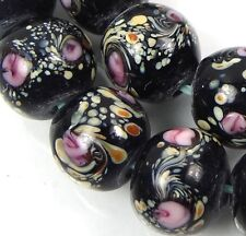 Lampwork Handmade Glass Black Peacock Swirls Moonlight Round Beads (8)