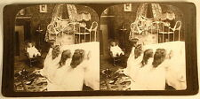 GIRLS PRAYING AT BEDTIME DOLL INTERIOR H C WHITE STEREOVIEW 1904