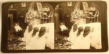 GIRLS PRAYING AT BEDTIME DOLL INTERIOR H C WHITE STEREOVIEW 1904