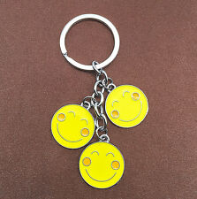 Yellow Enamel Smiley Face Charm Pendant Keychain Key Ring Key Chain Gift