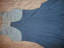 Lira Size Small Blue Denim and Gingham Striped Dress, 100% cotton, MADE IN USA!