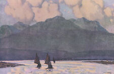 The Fishing Fleet, Co. Galway, Ireland Paul Henry print in 10 x 12 mount SUPERB