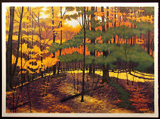 """Gordon Mortensen """"Wellesley Woods"""" Signed and #ed Art Woodcut fall leaves forest"""