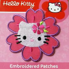 HELLO KITTY FLOWER IRON ON APPLIQUE MOTIF PATCH, BRAND NEW