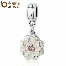 Bamoer European DIY Silver Flower Pink CZ Charm Fit Bracelet necklace Jewelry