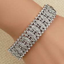 New Rhodium Plated Clear Crystal Rhinestone Bangle Cuff Bracelet 00202