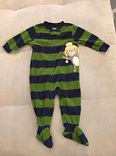 Baby Boy Pajama PJ Size 6 Month Warm Green With Zipper Monkey