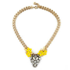 NEW Anthropologie Maceo Abstract Flower Yellow White Rhinestone Necklace