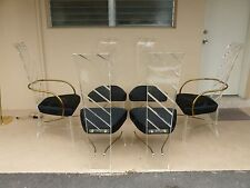 6 MOD 70'S  HIGH STYLE LUCITE DINING CHAIRS, 2 WITH BRASS ARMS - P
