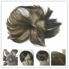 chestnut brown clip in on fringe bang bald grey patch hairpiece extension toupee