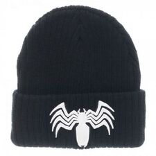 OFFICIAL MARVEL COMICS SPIDER-MAN VENOM SYMBOL BLACK CUFF BEANIE HAT (NEW)